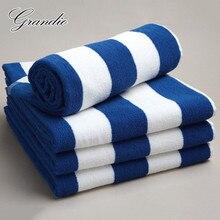 ผ้าฝ้าย 100% ผ้าฝ้ายผ้าเช็ดตัว 80X150 ซม.สีฟ้าสีขาวลายLuxury Heavyหนาเทอร์รี่ 650Gดูดซับห้องน้ำผ้าขนหนูสำหรับผู้ใหญ่