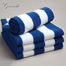 100% baumwolle Strand Handtuch 80x150cm Blau Weiß Gestreiften Luxus Schwere Dicke Terry 650g Saugfähigen Hotel Bad bad Handtuch für Erwachsene