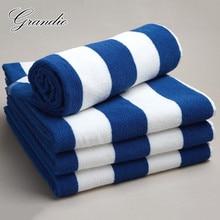 100% bawełniany ręcznik plażowy 80x150cm niebieski z białymi paskami luksusowe ciężki gruby frotte 650g chłonne Hotel łazienka z wanną ręcznik dla dorosłych