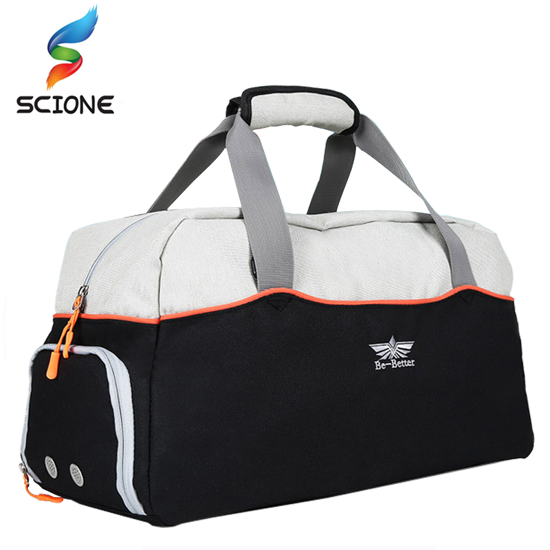 Hot Men Sports Gym Training Bags Top Canvas Outdoor Travel Women Fitness Yoga Handbag with Shoes Pocket Waterproof Crossbody Bag