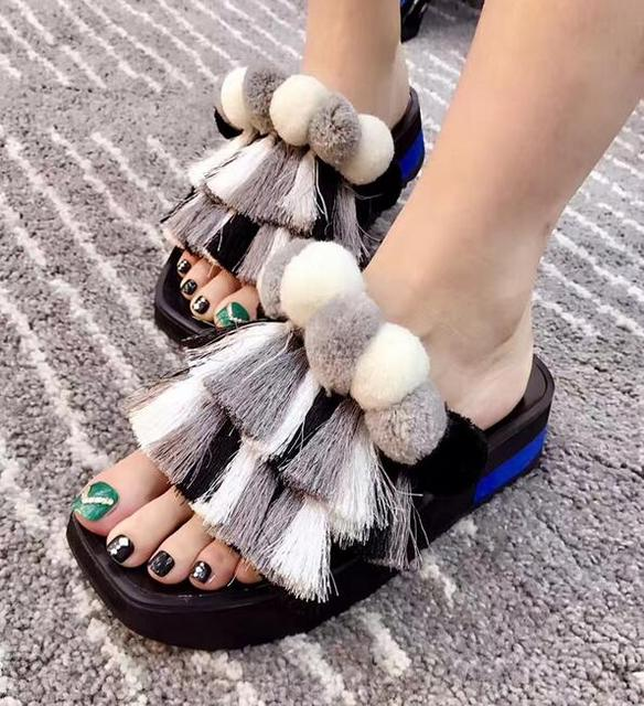 6b3fc6b52086f Summer New Fashion Tassel Cover Women Peep Toe Slides Mixed Color Pom Pom  Ladies High Platform Sandals Slip On Slides