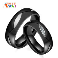 AMGJek 6mm Trendy Design Black Titanium Steel Ring Women Men Couple Engagement Ring Promise Jewelry JZ049