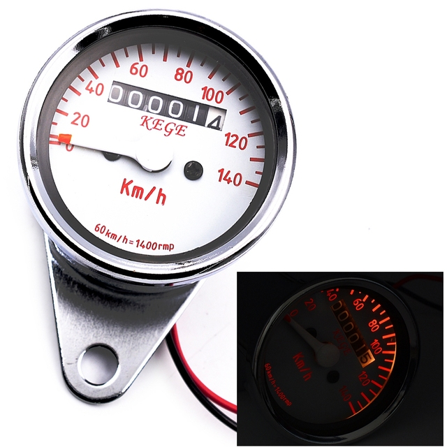 CS-361 12V Motorcycle Odometer Speedometer Gauge 2-in-1 with LED Backlight Signal Light Motorcycle Instrument