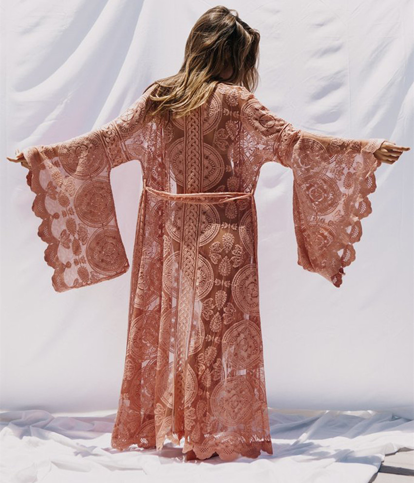 Jessie Vinson Plus Size Long Sleeve Lace Long Cardigan Women Perspective Kimono Cardigan Female Long Beach Swimsuit Cover up-in Blouses & Shirts from Women's Clothing    2