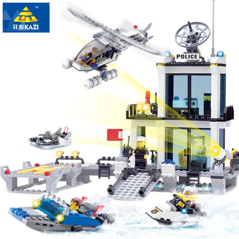 KAZI Police Station Building Blocks Helicopter Boat Model Bricks Figure Toys Compatible Legoings Technic Toys Birthday Gift