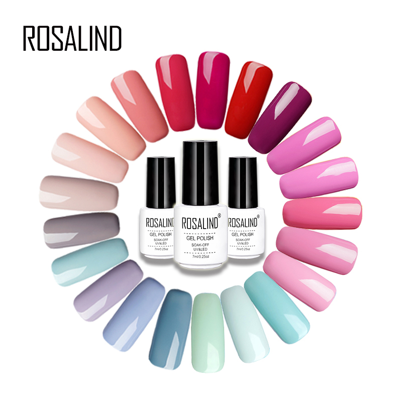 ROSALIND Gel 1S 7ML Pure Color Series Gel Nail Polish For Nail Extension Nail Art Design Lacquer UV LED Lamp Primer Gel Varnish