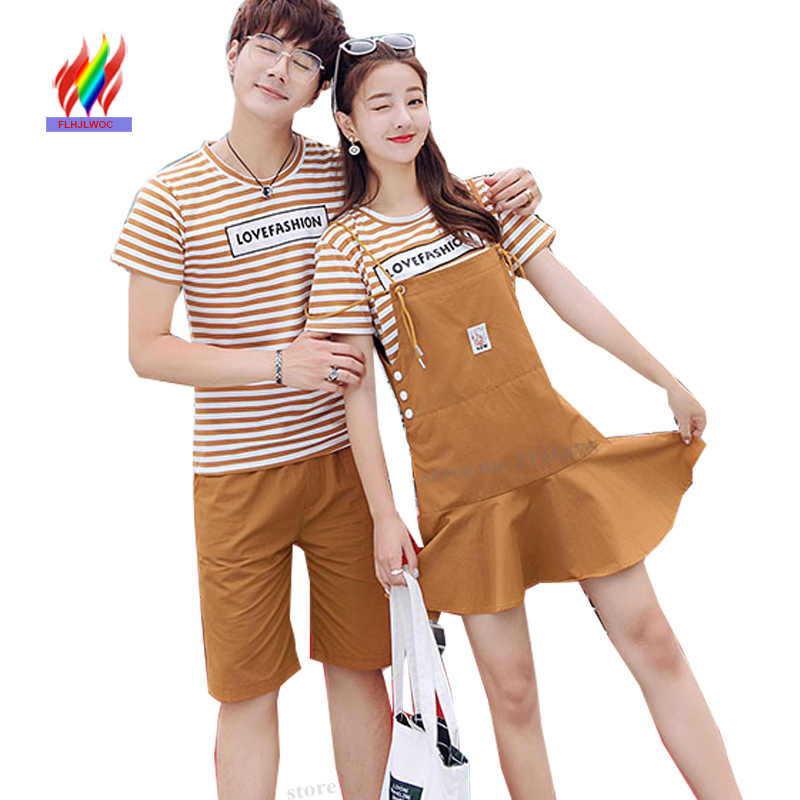 764775240c9b Matching Couple Sweetheart Lovers Boyfriends And Girlfriends Striped T  Shirt Dresses Cute Sweet Two Piece Girls