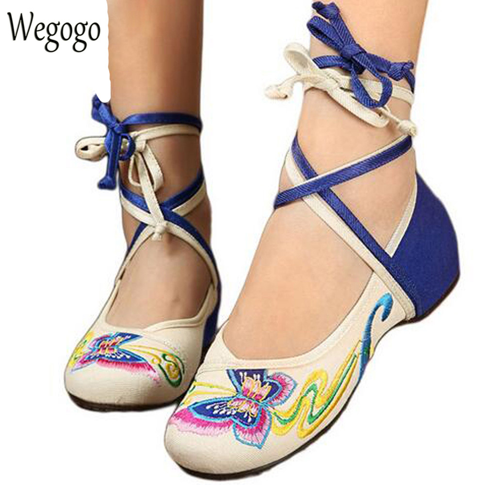 Chinese Women Shoes Butterfly Flats Casual Embroidery Shoes Lace Up Soft Sole Cloth Dance Ballet Flat Red Black Plus Size 40 peacock embroidery women shoes old peking mary jane flat heel denim flats soft sole women dance casual shoes height increase