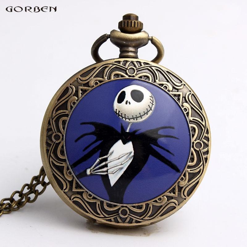 Vintage Jack Skellington Nightmare Before Christmas Pocket Watch Blue Case Bronze Quartz Chain Pendant Watch Necklace Men Women