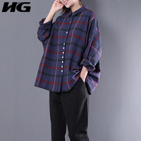 XITAO 2018 New Spring Korean Fashion Women Loose Large Size Casual Plaid Color Single Breasted