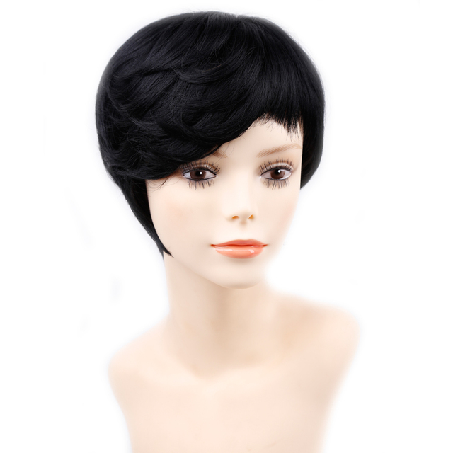 Amir Short Hair Wig Side Bang Full Synthetic Wigs Black Brown Curly