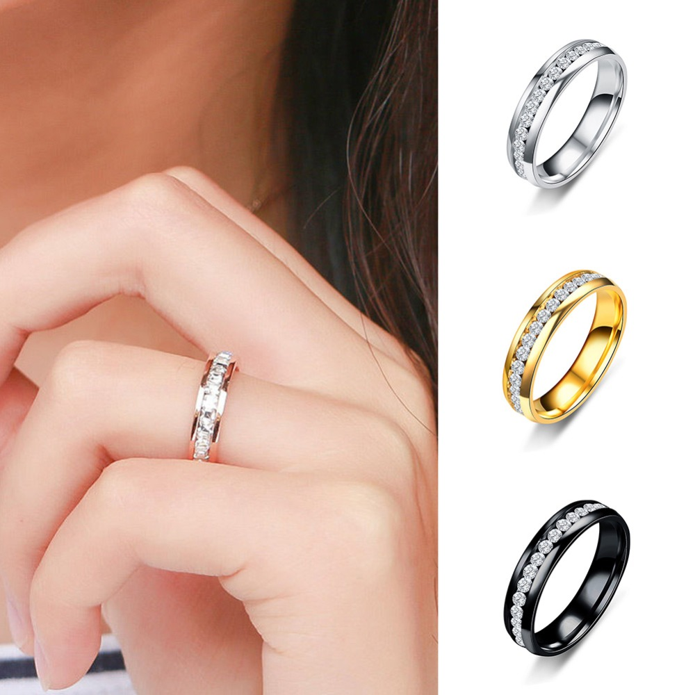 Мужское и женское кольцо из нержавеющей стали с фианитом