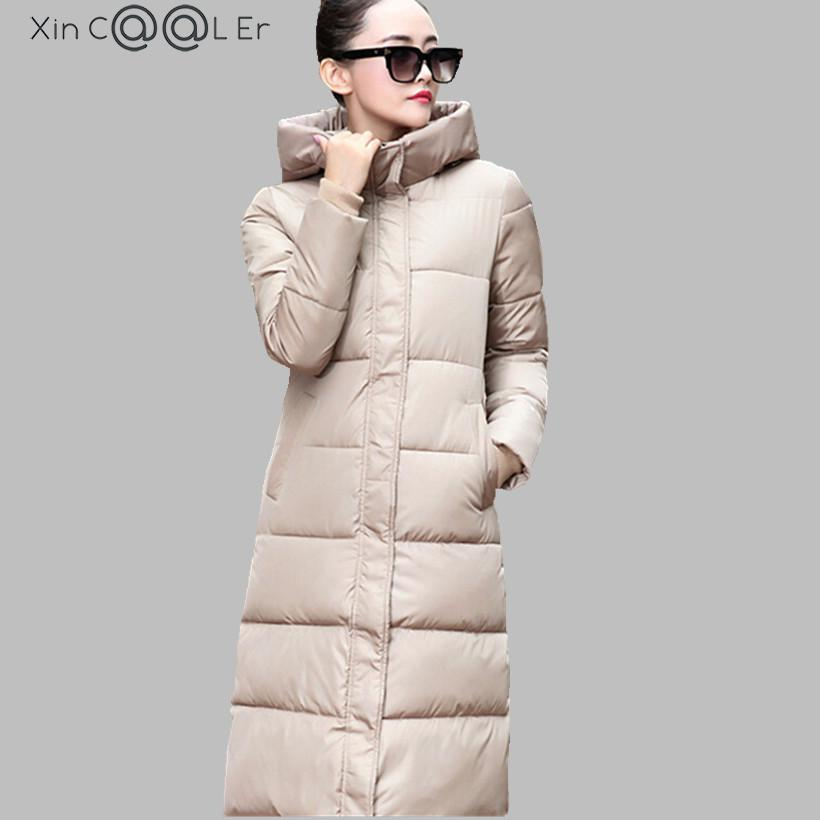 2017  Winter Jacket Women Hooded Slim X-Long Paragraph Camouflage Coat Thick Warm Down Padded Female Maxi Cotton Jacket thick hooded down jacket women slim print long winter coat camouflage y160