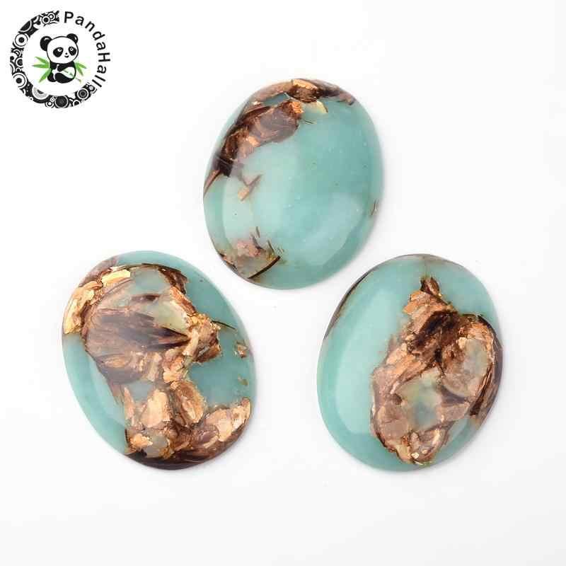 8898d2c974 10 piezas sintético oro Oval cobre piedra y Regalite cabujones teñido  colorido de 30mm de ancho