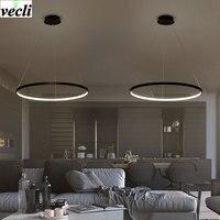 Led Living Room Chandelier Creative Modern Minimalist Personality Aluminum Circle Circle Circular Bedroom Dining Room Lights