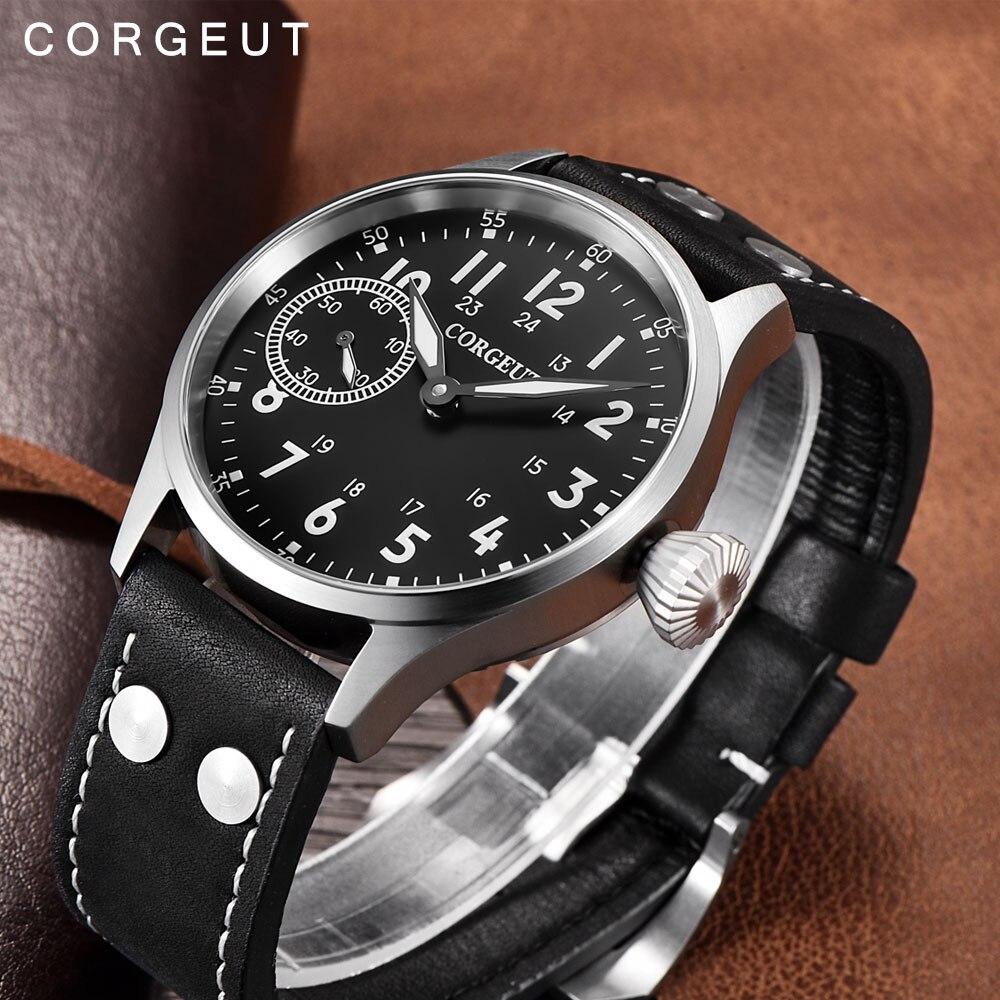 Corgeut Fashion Leather Top Mechanical Wrist Watch 17 Jewels Hand Winding 6497 Seagull ST3600 Fashion Leather Luminous Watches vintage 17 jewels 6497 st3600 mechanical hand winding watch movement