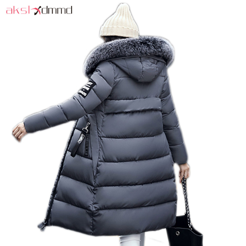 AKSLXDMMD Parka Warm Outerwear Winter Coat 2017 New Women Winter Jacket Plus Size Thick Cotton Padded Fur Hooded Jacket LH1150 women blazers ruffle design candy color half sleeve female blazer suit jackets spring autumn fall winter casual party top blaser