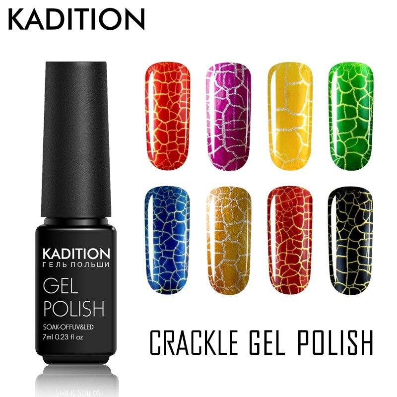 Kadition высокое качество Crackle Shatter гель Лаки Новые прибытия 12 Красочные УФ светодиодный трещин лак для ногтей гель лак
