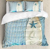 Nautical Decor Duvet Cover Set Sea Objects on Wooden with Vintage Boat Starfish Shell Fishing Net Photo, 4 Piece Bedding Set