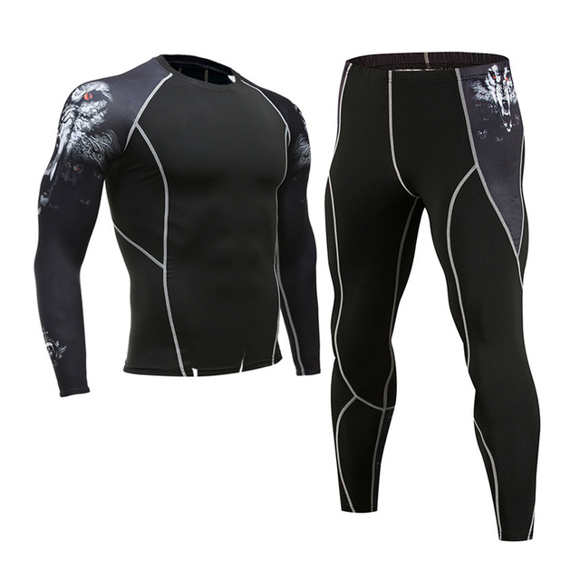 Thermal Underwear Men's Suit Compression Suit Fleece Long Johns Quick-Drying Thermal Underwear Set Running Tight Sports Men 4XL