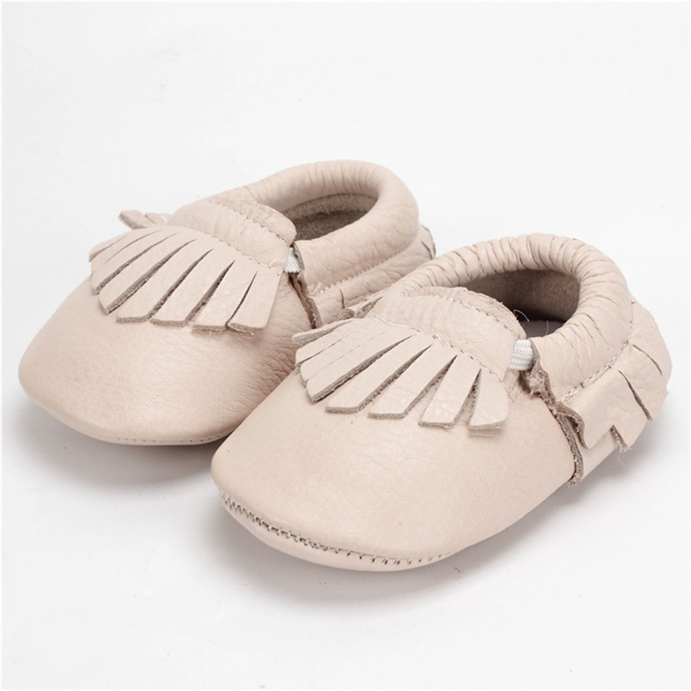 Promotion Ivory color Baby Shoes Leather Moccasins Newborn Shoes Soft Infants Crib Shoes Sneakers Bebe Footwear 0-24M