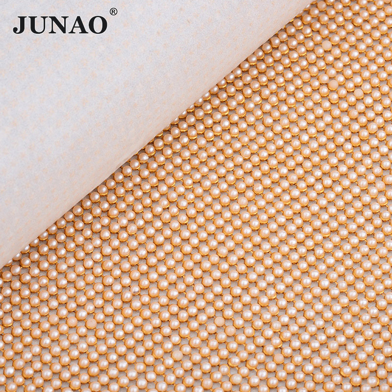 JUNAO 45*120cm Gold Metal Trim Aluminum Mesh Rhinestones Fabric Sheet White Pearl Beads Appliques Strass Crystal Band for DIY