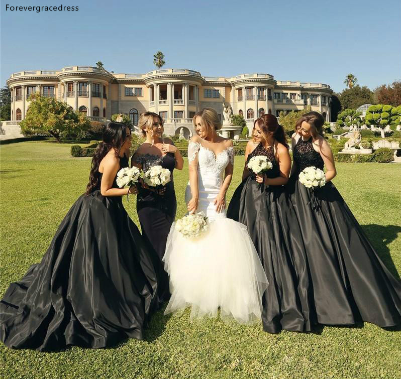 Black Color   Bridesmaid     Dress   Gothic Style Summer Country Garden Formal Wedding Party Guest Maid of Honor Gown Plus Size
