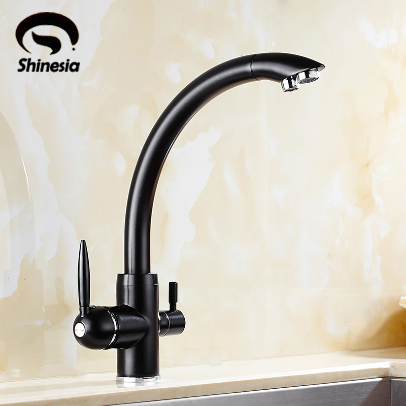 все цены на Solid Brass Purification Kitchen Sink Faucet Double Handles Pure Water Mixer Tap with Hot and Cold Water Crane