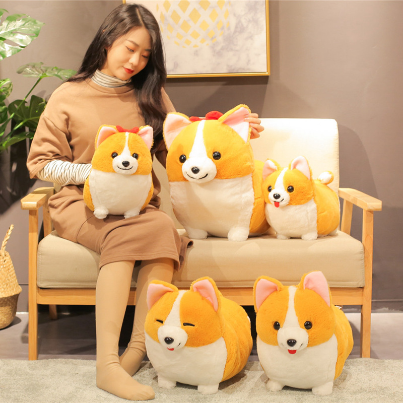 38/45/60cm Lovely Corgi Dog Plush Toy Stuffed Soft Animal Cartoon Pillow Cute Christmas Gift For Kids Kawaii Valentine Present