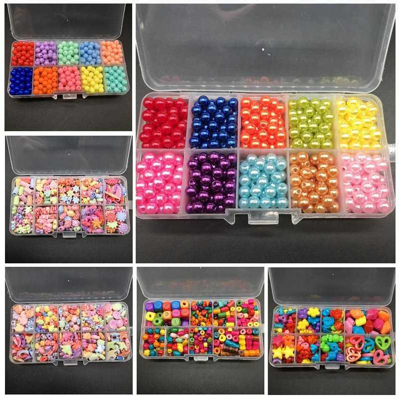 Boxed Bead Acrylic Wood DIY Beads Imitation Pearl Accessories Packing Box Handmade Pretty Jewelry For Necklace Bracelet Gift