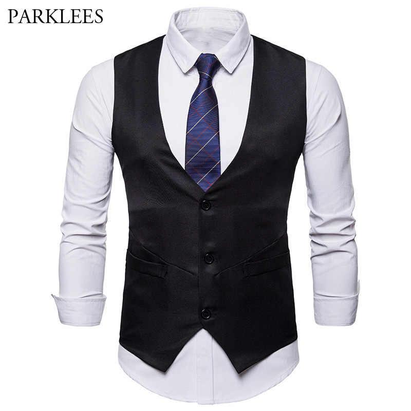 Chaleco de traje de un solo pecho para hombre a estrenar traje de hombre chaleco Formal de negocios boda chaleco moda cuello en V sin mangas Gilet
