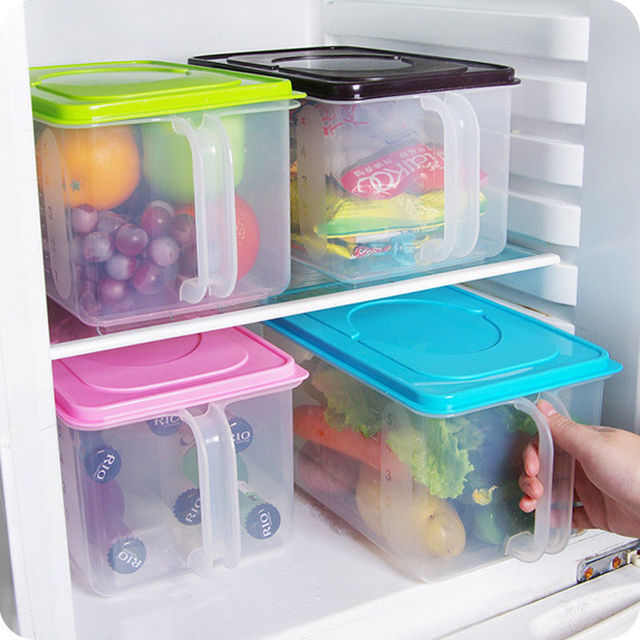 New Kitchen Food Crisper Food Container Box Refrigerator Storage Box With  Handle Free Shipping