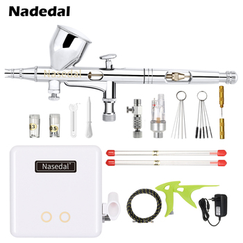 Nasedal Airbrush Spray Gun Air Compressor with Auto Stop Function Makeup Painting Cake Decoration Nail Art Spary Tools NT-24