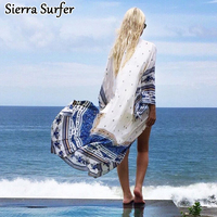 Bikini Cover Up Beach Dress Robe For Kaftans The Summer Outputs Tunic Cape New Printing Chiffon