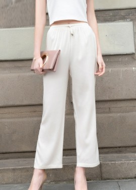 European station 2018 new summer pure color mulberry silk straight bobbin trousers for women high waist leisure pants