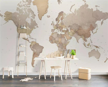Beibehang Custom wallpaper European minimalist nostalgic world map background wall living room bedroom decoration 3d wallpaper цена 2017