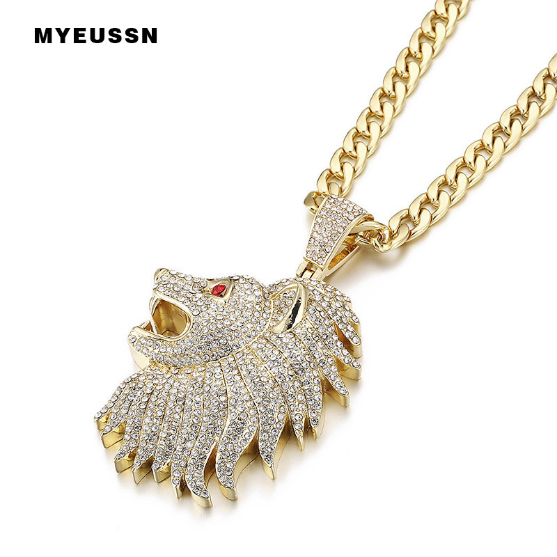 Large Lion Head Pendant Iced Out Crystal Red Eye Fashion Necklace With Chain For Men Charm Father's Day Gift Hip Hop Jewelry