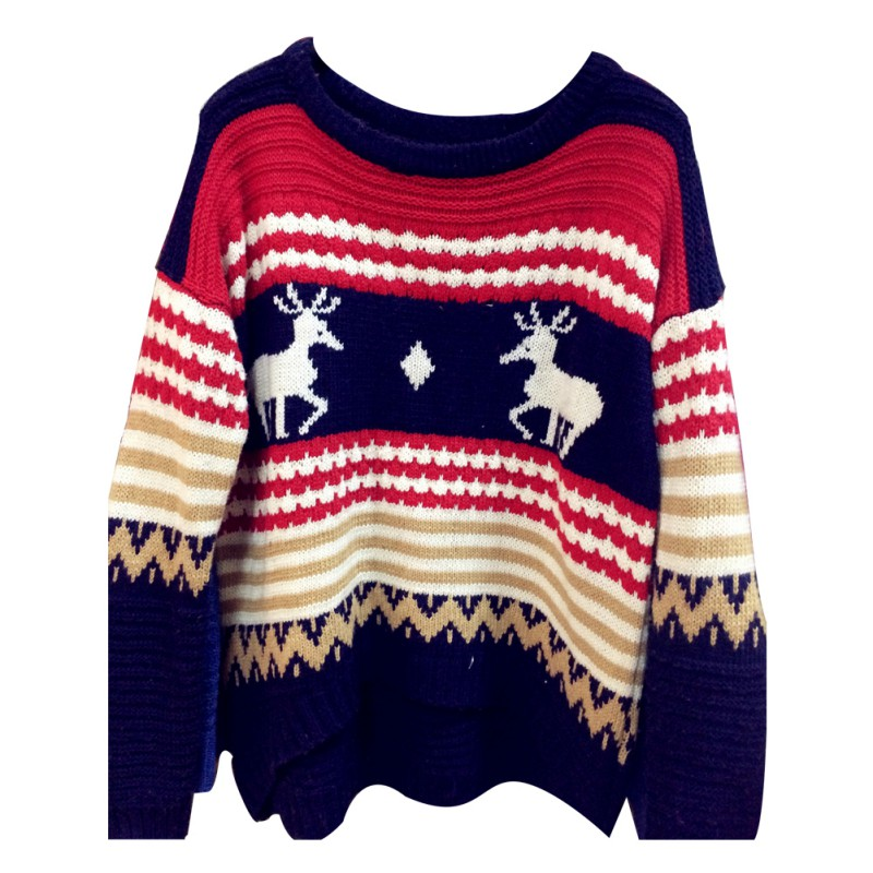 Girls Autumn And Winter New Women Korean Hedging Loose Knit Sweater Patchwork Long-sleeved Christmas Deer Sweater High Quality