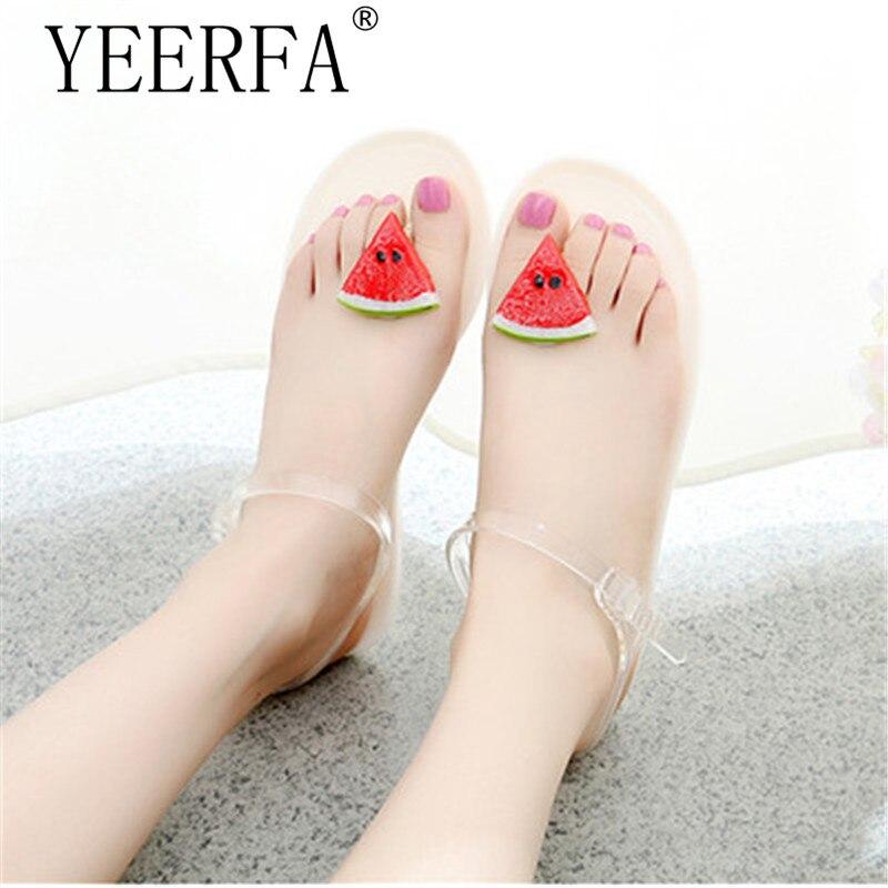 Women Sandals Summer Watermelon fruit Fashion Peep Toe Jelly Shoes Sandal Flat Shoes Woman Size 35-40 women Jelly Shoes women sandals 2016 fashion flat sandals shoes woman summer shoes jelly shoes