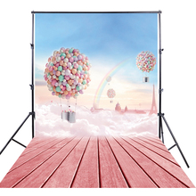 HUAYI Photography Backdrop hot balloon rainbow fantasy Studio Vinyl  Pink Background Customized printed Baby Photoshoots XT-4096