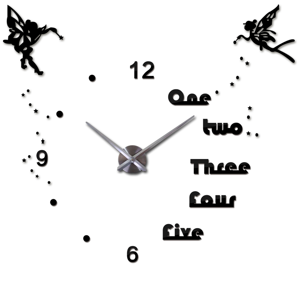 Angel Wings 3d Diy Large Wall Clock Acrylic Oversize