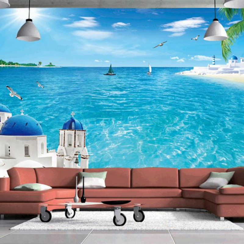Custom Large Wallpapers Stereoscopic 3D Landscape Murals Santorini Photo Blue Sea Tree Walls Papers Home Decor for Living Room custom photo size wallpapers 3d murals for living room tv home decor walls papers nature landscape painting non woven wallpapers