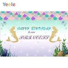 Yeele Vinyl Mermaid Ocean Princess Cartoon Photography Backdrops Girl Birthday Party Photographic Backgrounds For Photo Studio