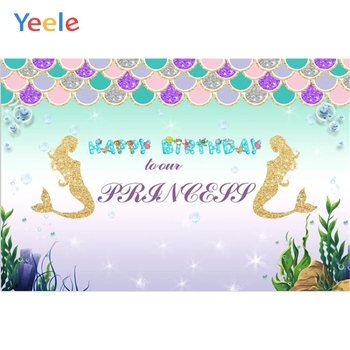 Yeele Vinyl Mermaid Ocean Princess Cartoon Photography Backdrops Girl Birthday Party Photographic Backgrounds For Photo Studio