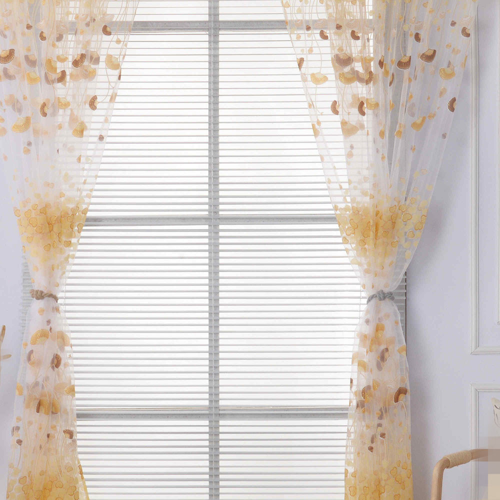 Floral Sheer Tulle Window Curtains For Living Room The Bedroom Modern Home Decoration Fabric Blinds Drapes