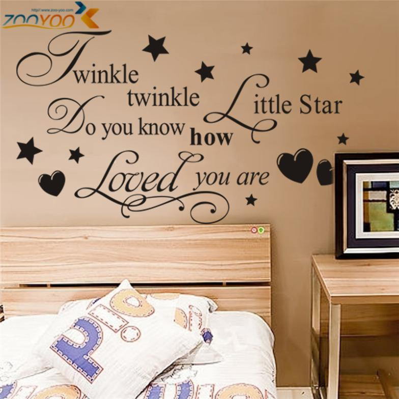 Aliexpress.com : Buy Twinkle Twinkle Wall Decals Litter Star Sticker Quote  Wall Arts Zooyoo8064 Diy Decorative Bedroom Removable Vinyl Wall Stickers  From ... Part 44