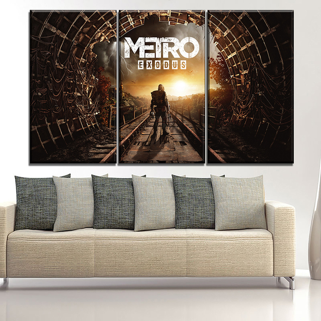 Canvas Printing Type Modular Picture Wall Art 5 Pieces Game Metro Exodus Poster For Modern Living Room Home Decorative 2