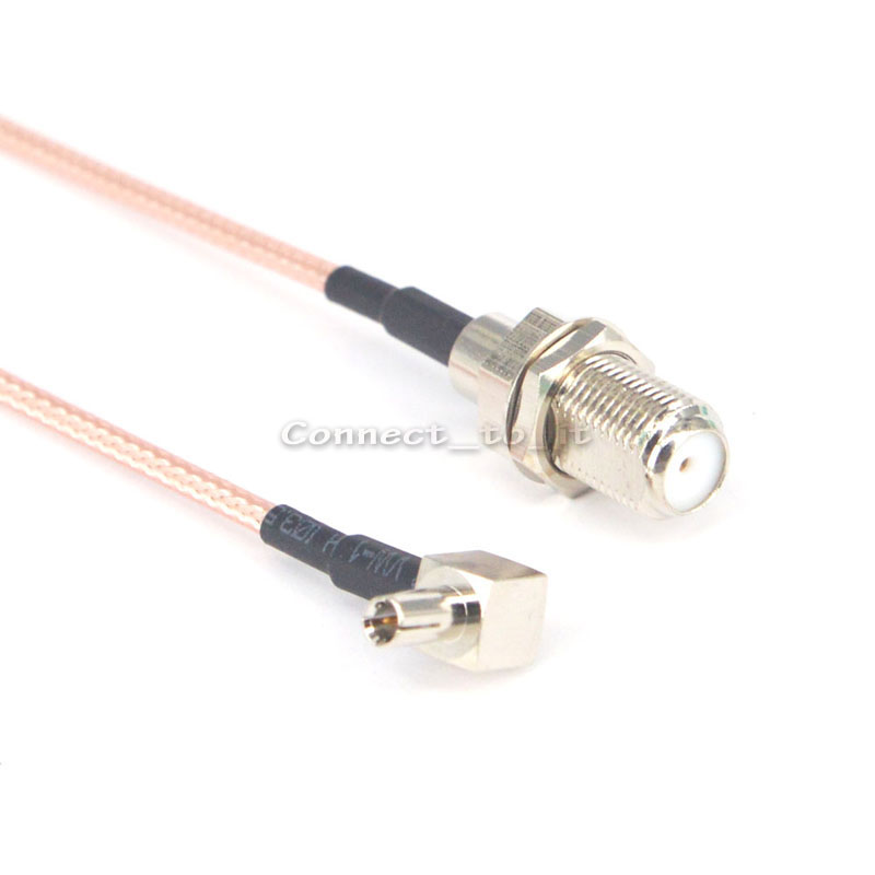 2 Pieces F Female Jack to TS9 Male Rightangle Plug pigtail Cable Extension Cable 15CM 2015 new arrival rg174 x 15cm 1pcs rp sma female to y type 2xts9 ts 9 plug splitter combiner cable jumper pigtail