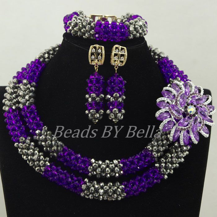 2017 New Design Nigerian Wedding African Beads Jewelry Set Purple ...