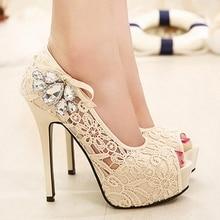 Sexy Peep Toe Rosa Apricot schwerem boden Thin High Heels Mit Strass Frühling Neueste Mode Elegant Frauen Bankett Schuhe